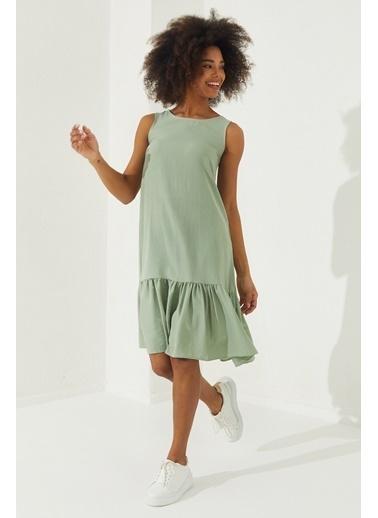 Reyon REYON Kadın Eteği Fırfırlı Sıfır Kol Elbise Mint Yeşili Yeşil